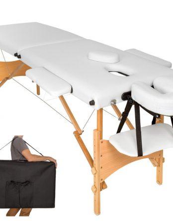 2 delna bela lesena masažna miza