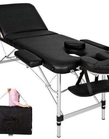 3 delna ALU masažna miza črne barve