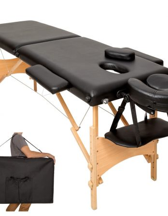 2 delna črna prenosna lesena masažna miza
